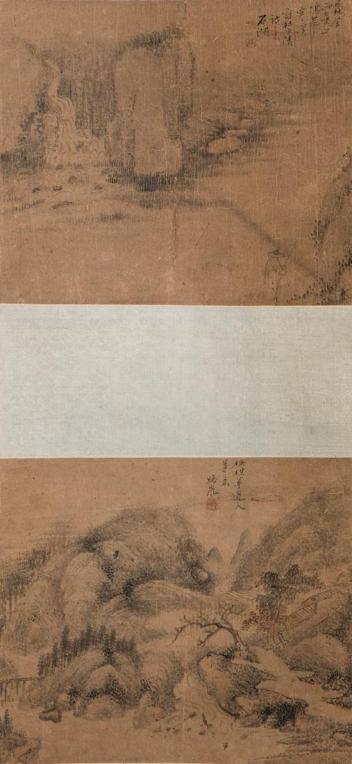 A CHINESE SCROLL PAINTING OF LANDSCAPE MOTIF