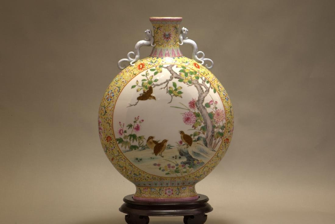 A FAMILLE ROSE 'FLOWER AND BIRD' MOONFLASK