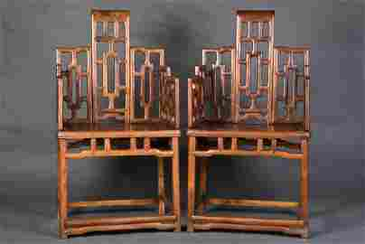 A PAIR OF CHINESE HAINAN HUANGHUALI CHAIRS