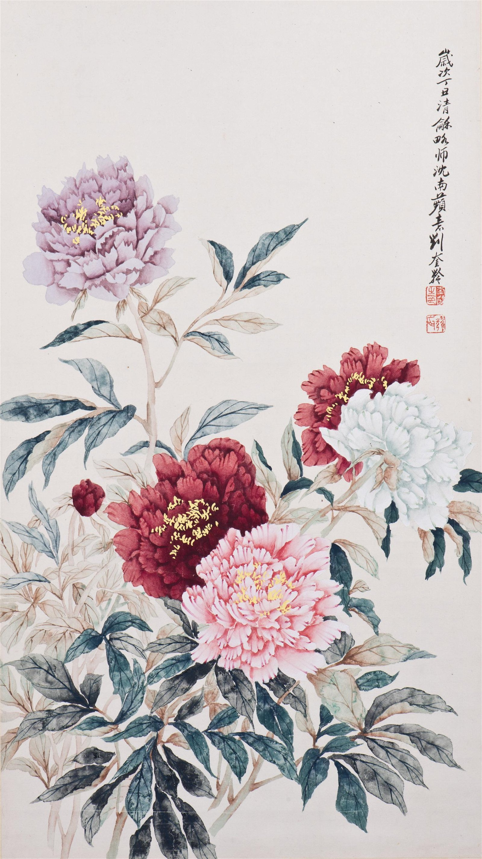 A CHINESE SCROLL PAINTING, AFTER LIU KUILING