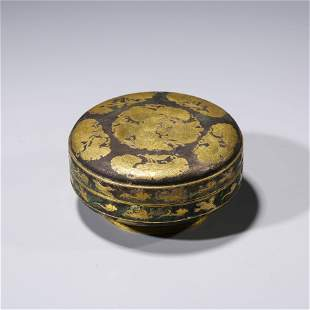 A CHINESE SILVER GILDING PHOENIX POWDER COVER AND BOX
