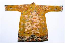 A CHINESE EMBROIDERED 'DRAGON' ROBE