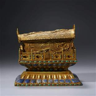 A CHINESE SILVER GILDING GEM-EMBELLISHED BOX AND COVER