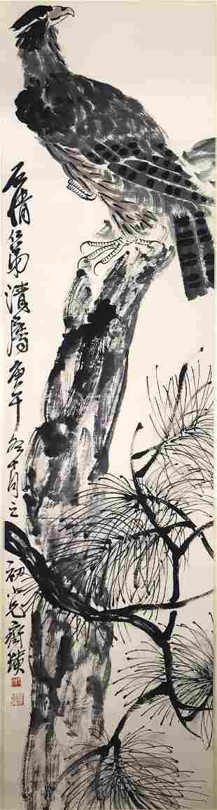 A CHINESE PINE AND EAGLE, QIBAISHI MARK
