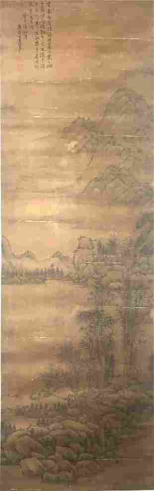 A CHINESE LANDSCAPE PAINTING, WANG HUI MARK