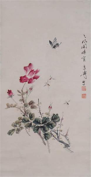 A Chinese Butterfly And Flowers Painting Scroll, Wang