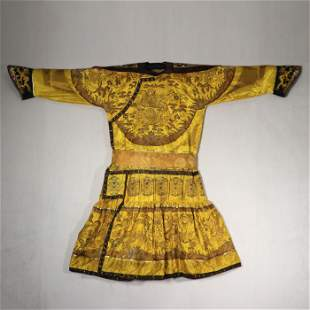 An Imperial Yellow Ground Embroidered Silk Dragon Robe
