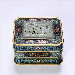A Bronze Cloisonne Enamel And Jade Inlaid Square Box