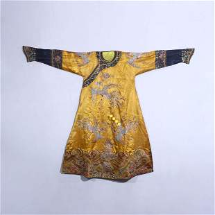 An Imperial Yellow Ground Embroidered Silk Phoenix Robe
