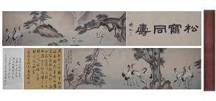 A Chinese Cranes Painting Handscroll, Xu Beihong Mark