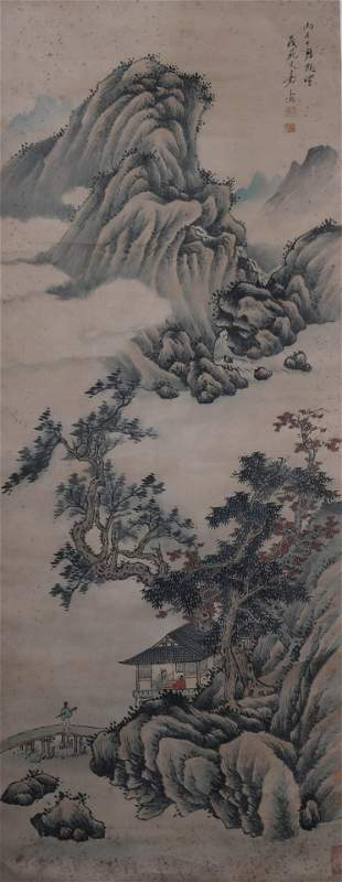 A Chinese Landscape And Figure Painting Scroll, Wen Jia