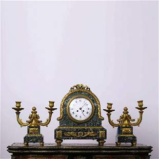 A Set Of Marble Stone Gilding Clock