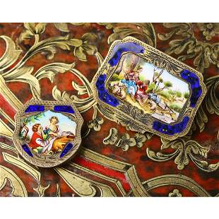 A Set Of Silver Enamel Figural Box And Cover