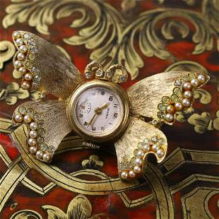 A Swiss Made Butterfly Watch Brooch
