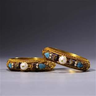 A Pair Of Silver Gilding Filigree Bangles
