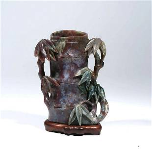 A Carved Jadeite Bamboo-Form Brush Pot