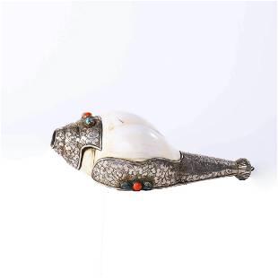 A Silver Inlaid Conch Ornament