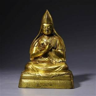 A Gilt Bronze Statue Of Guru