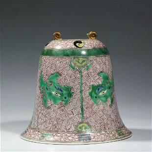 A Wucai Twin-Hooked Porcelain Bell