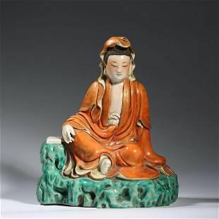 A Famille Rose Statue Of Avalokitesvara