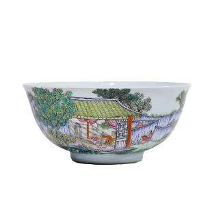 A Famille Rose Countryside Living Bowl