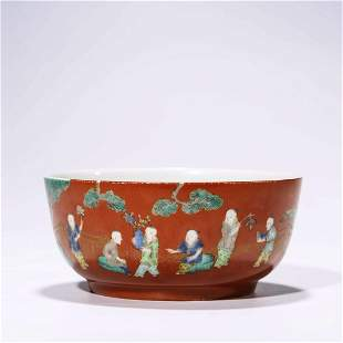A Coral-Red Glaze Children Bowl