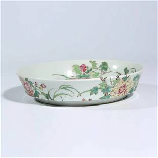 A Famille Rose Peony Dish