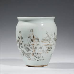 A Grisaille Figure Porcelain Jar