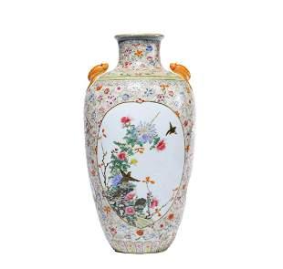 A Famille Rose Floral Bat-Eared Dish-Top Vase