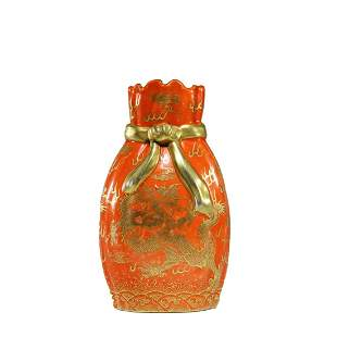 A Coral-Red-Glaze And Gilt-Decorated Dragon Wrapped