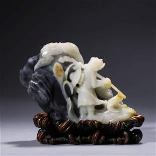 A Black And White Jade Figure And Landscape Boulder