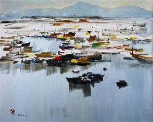 A Chinese Jiang Nan View Painting, Wu Guan Zhong Mark