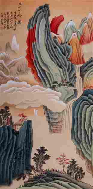 A Chinese WuShan Twelve Mountain Top Painting, Zhang Da