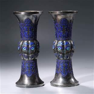 A Pair Of Silver Enamel Beaker Vases