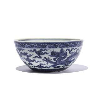 A Blue And White Dragon Bowl