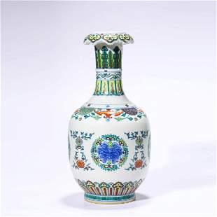 A Doucai Glaze Bat And Flowers Dish-Top Vase