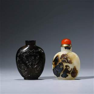 A Set Of Carved Agate Figure Snuff Bottles