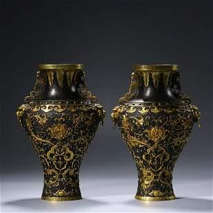 A Pair Of Parcel-Gilt Bronze Beast Vases