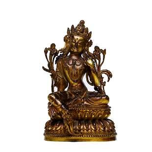 A Gilt Bronze Statue Of Green Tara