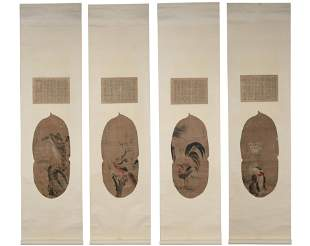 A Set Of Four Chinese Birds Painting Scroll, Bian