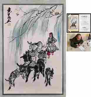 A Chinese Donkey Painting, Huang Zhou Mark