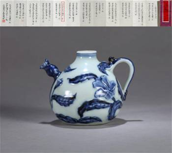 A BLUE AND WHITE FLORAL TEAPOT