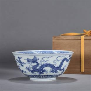 A CHINESE BLUE ANDD WHITE PORCELAIN BOWL WITH DRAGON