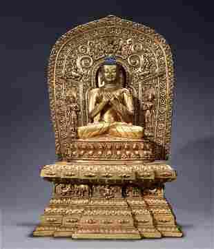 A Fine and Rare Chinese Sino Tibetan Gilt bronze figure