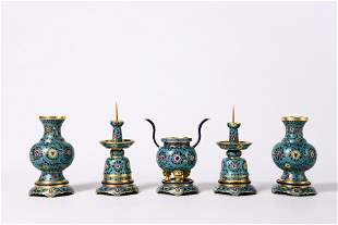 A SET OF CHINESE CLOISONNE ENAMEL VASE AND INCENSE