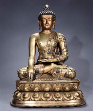 A Big and Rare Chinese Sino Tibetan Gilt bronze inlaid