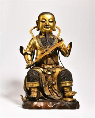 A GILT-BRONZE FIGURE OF BUDDHA,MAYBE 18TH TO 19TH