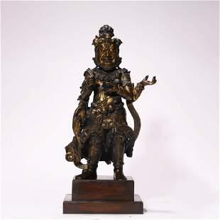 A Chinese Ming Dynasty Gilt-Bronze Buddha Statue