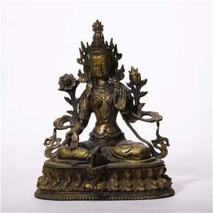 A Chinese Gilt-Bronze Green Tara Statue