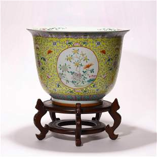 A Chinese Porcelain Famille-Rose Jardiniere and Stand